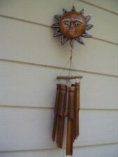 Painted Golden Face Sun Celestial Sun Wooden Top Bamboo Wind Chimes Free Ship