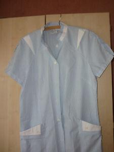 Kleid 42 Kittelkleid Küchenkleid Clinic dress + job blau weiß Kurzarm m Taschen