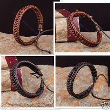 Lot 2pcs Leather Hemp Braided Exquisite Bracelet Wristband Bangle Brown Black