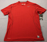 Nike Pro Combat Mens Red Pro Core 2.0 Fitted SS Crew Neck Base-Layer Shirt NWT L