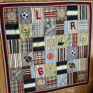 Pottery Barn Kids Full/Queen All Sports Patchwork Quilt 83x83in Chambray Bedding