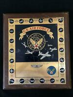 Vintage 1951 USAF Air Force Brass Plaque WWII History Planes & Missions Fosberg