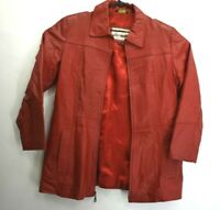 Excelled Women's Ladies' XL Full Zip Leather Jacket w/ Shoulder Pads Red