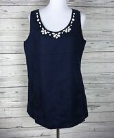 Lantana Casuals Women's Navy / White Sleeveless 100% Linen Beaded Top Size XL