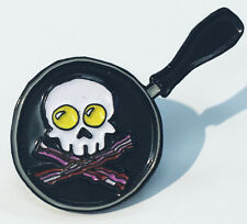 Bacon and Eggs Jolly Roger Skull Frypan Enamel Lapel Pin