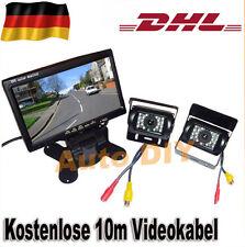"2x Nachtsicht Rückfahrkamera Kamera + 7"" Auto Monitor Rückfahrsystem 10m Kabel"