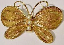 Charmante broche bijou vintage papillon filigrane perle nacrée dorée or fin 142