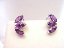 MARQUISE NATURAL AMETHYST 3.50 TCW 18K WHITE GOLD PIERCED OMEGA BACK EARRING