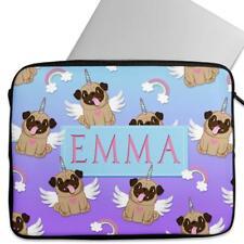 Personalised Laptop Cover PUG Sleeve Cute Unicorn Universal Case Gift KS144