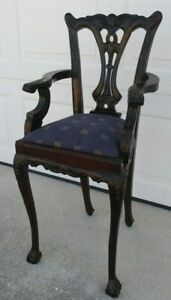 Vintage Chippendale Mahogany Childrens Side Chair  ~ Doll Chair Ball & Claw