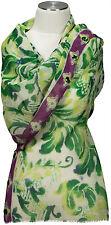 Schal mit Schmucksteinen scarf 100%Wolle wool handbestickt embroidered grün lila
