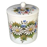 """Vtg 70s Porcelain Cookie Jar Hand Painted I8"""" Floral Pattern Made In Italy EUC."""