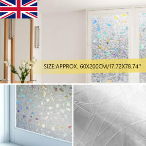3D Static  Stained Rainbow Frosted Decorative Privacy Glass Window Film Sticker