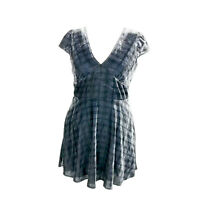 Jack Wills Blue Check Velour Smart Party Fit & Flare Dress Size 14