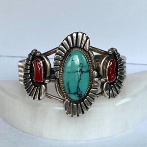 VTG Sterling Silver Navajo Turquoise Coral Cuff Bracelet Richard Begay 45g