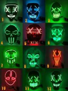 Halloween Masks LED Neon Stitches Mask Wire Light Up Costume Purge Party Cosplay