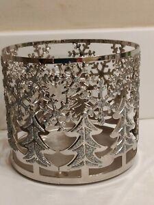 BATH & BODY WORKS 3 WICK CANDLE HOLDER SLEEVE SILVER TONE GLITTER CHRISTMAS TREE