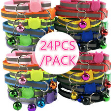 Lot of 24PCS Reflective Safe Cat Collar W/ Bell Quick Release Kitten Pet Safety