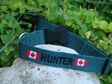 Custom Made Dog Collar with Your Dogs Name Phone number and Canadian Flag Design