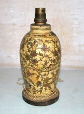 Old Antique Wooden Hand Floral Bird Lacquer Painting Lighting Lamp Table Lamp