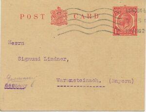 GB 1920 GV 1d superb postal stationery postcard rare LONDON E.C. POSTMARK-ERROR