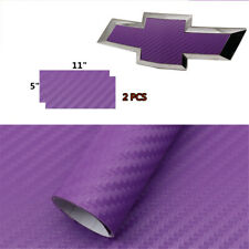 "(2) 11"" x 5""  Purple Carbon Fiber Vinyl Sheets U-Cut around Chevy Bowtie Emblems"