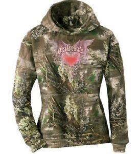 NWT Women's Pink Camo Wings Hoodie Sweatshirt Realtree MAX 1 Hunting Cabelas NEW