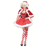 Adult Women's Sexy Mrs Claus Christmas Costume Santa Dress Hood Cape Socks XS-XL