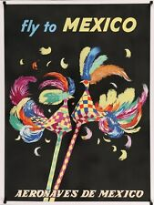 AERONAVES DE MEXICO FLY TO Vintage Travel poster 1960 25x37 LINEN BACKED NM