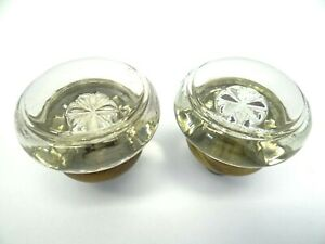 Antique Pair Old Clear Glass Metal Brass Decorative Medium Sized Doorknobs Knobs