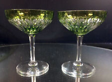 VTG ZERMATT GREEN CUT GLASS VAL ST. LAMBERT CHAMPAGNE TALL SHERBET SET OF 2