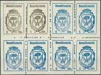 España. War Civil. Locales. ( ) .1937. 5 Cts Black, Two Stamps and 5 Cts - Blue