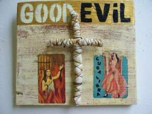 "Jeff brown artwork found objects assemblage collage unique original ""GOOD + EViL"