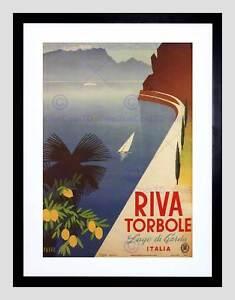 TRAVEL TOURISM RIVA TORBOLE LAKE GARDA ITALY BLACK FRAMED ART PRINT B12X4687