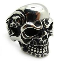 1X Men's PUNK gothic biker skeleton silver stainless steel cool skull party Ring