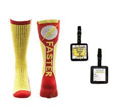 Flash Text Logo Mens' Active Crew Socks 1 Pair & Luggage Tag - 2 Piece Gift Set