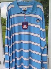 Evisu Men's Long Sleeve Cotton Baby Blue Striped Polo Shirt NWT NEW 6XL Big Man