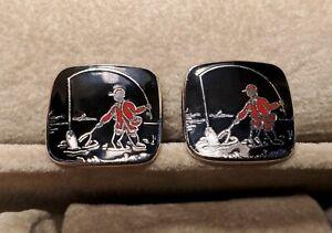 Vintage Fly Fishing Black Enamel Cufflinks Set Red Fisherman Mens Silver Jewelry