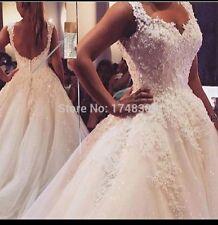 UK Plus Size White/Ivory Pearls A Line Floor Length Wedding Dresses Size 6-26