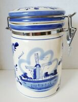 Delft Blue by TS  Handpainted Holland Windmill Ceramic Canister with Clamp Lid