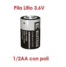 Batteria litio LS14250 lithium 1/2 AA mezza stilo ER14250 3.6V Li-SoCl2 1200mAh