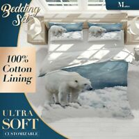 Polar Bear Hunting Wild Animal Grey Quilt Cover Cotton Doona with 2x Shams