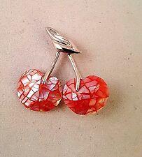 Vintage Liz Claiborne Cherry Silver Plated Brooch