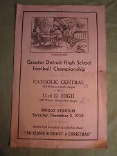 December 2, 1939 Greater Detroit High School Football Championship program