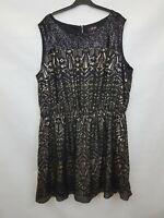 SIMPLY BE Ladies dress sleeveless black gold elastic waist polyester size 26 02