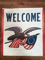 American Eagle Flag Welcome Flag Small Vintage  INV-C189