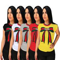 Women's Casual Bowknot Cute Graphic Print Tees O-Neck Short Sleeve T-Shirt Tops