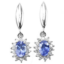 NATURAL AAA BLUE TANZANITE OVAL & WHITE CZ STERLING 925 SILVER DROP EARRING