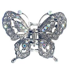 USA VINTAGE Hair Claw Clip Rhinestone Crystal Hairpin Butterfly Elegant Silver