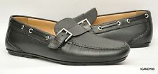 New Salvatore Ferragamo Italy Pebbled Leather Moc Driving Loafer Slip-On Black 9
